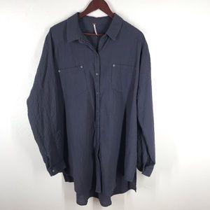 FREE PEOPLE Button Down Mini Shirt Dress Tunic L